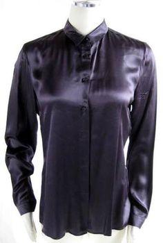 JIL SANDER * Plum Purple SILK SATIN BUTTON DOWN SHIRT BLOUSE TOP~40 | eBay $41.70