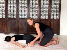 Most Lower Back pain is from tightness in the lower body/legs. Check out this video of Hillary doing some Thai Yoga Massage assisted stretches to work the IT bands, hamstrings, & quadriceps. Prone Th Thai Yoga Massage, Massage Tips, Massage Benefits, Massage Therapy, Massage Logo, Back Pain Exercises, Stretches, Massage Treatment, Good Mental Health