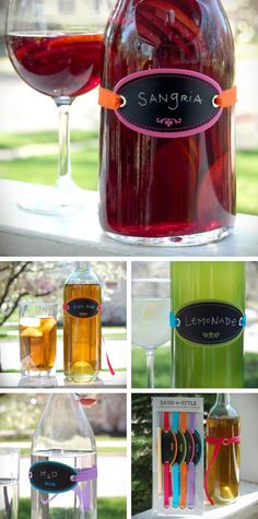 love this idea for labeling drinks at a party