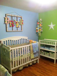 Ideas for a baby room - love the old window with the name over the top of it