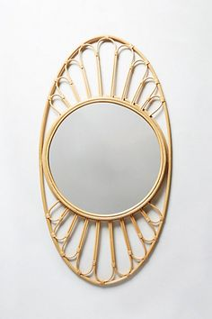 Midcentury Wicker Mirror