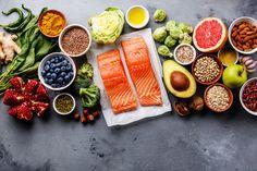 Healthy food clean eating selection: fish fruit vegetable seeds superfood c Dinner Recipes For Kids, Healthy Dinner Recipes, Diet Recipes, Healthy Snacks, Healthy Eating, Dieta Macros, Easy Healthy Dinners, Clean Eating, Meals