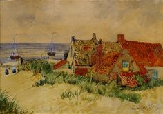 Thomas Bush Hardy RBA, British View of fishermen's cottages, Katwijk, Holland; Fine Art Auctions, His Travel, Continents, Cottages, Holland, Art Gallery, Watercolor, Masters, Artist