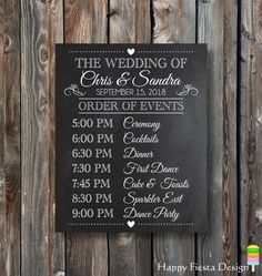 PRINTABLE Wedding Chalkboard-Order Of Events Sign-Wedding Day Schedule-Wedding Day Chalkboard-Wedding Schedule-Personalized Wedding Day Sign