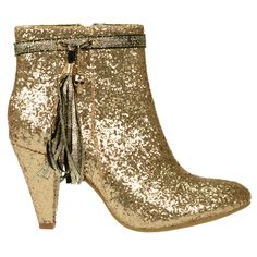 SACHA // Gouden enkellaarsje €59,95 - Golden short boot, glitter and glamour style