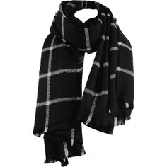 Checked Pattern Artifical Wool Fringed Shawl Scarf Black ($10) ❤ liked on Polyvore featuring accessories and scarves