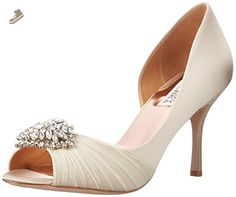 622a2b42f4ff Badgley Mischka Wedding Shoes - Pleated chiffon is draped across the vamp