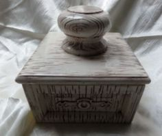 Vintage Ceramic Wood Look Square Drawer Canister Coffee, Sugar Kitchenware