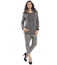 PLEASE Cappotto coat with buttons GREY V46920044 NEW