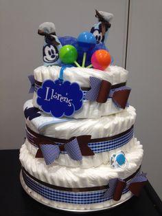 Diaper cake for a boy. Tarta pañales niño. DIY