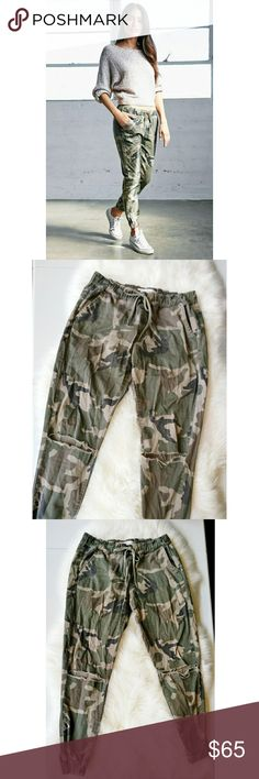 PACSUN Bullhead Camo Joggers Distressed Women size: extra small. Excellent condition! Drawstring  waist,  distressed at knees,  front pockets working,  back pockets just for style. PacSun Pants Track Pants & Joggers