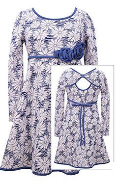 d2fcf6834d5 Amazon.com  Bonnie Jean Girls Plus Blue White Open Back Floral Jacquard  Knit Fit Flare Dress