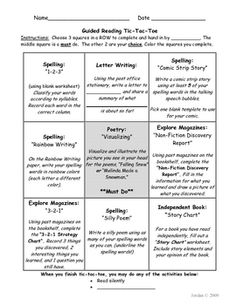 This choice board is ideal for independent student activities during guided reading blocks. Students choose which row of activities to complete ove...