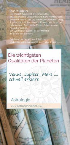 Schnelle Astrologie Einführung in die Qualitäten und das Wesen der Planeten. Unkompliziert und auf den Punkt gebracht. Jupiter Planet, Blog, Personalized Items, Astrology, Zodiac Constellations, Exploring, Full Stop, Planets, Horoscope