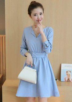 Buy Split Neck Round Dress with Belt | mysallyfashion.com Malaysia