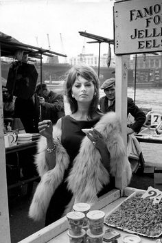 "Sofia Loren on the set of ""The Millionairess"" Old Hollywood, Viejo Hollywood, Hollywood Glamour, Hollywood Stars, Classic Hollywood, Look Vintage, Vintage Glamour, Vintage Fur, Most Beautiful Women"