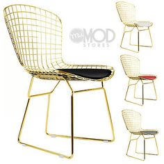 Wire Side Chair Golden Wireback Mid Century Modern Mesh Dining Chair in Gold Bar Chairs, Side Chairs, Dining Chairs, Desk Chairs, Navy Blue Living Room, Dining Room Chair Cushions, Adirondack Chairs For Sale, Chic Desk, Counter Stool