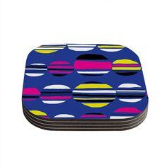 """Emine Ortega """"Retro Circles Cobalt"""" Coasters (Set of 4)"""