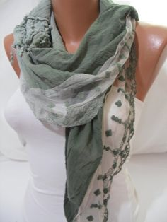 Women  Green Cotton Scarf  Headband  Cowl with Lace Edge by DIDUCI, $19.90