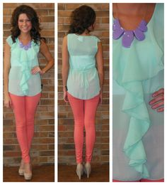 what a cute top. and the pants! Mint top Purple/lavender necklace Coral pants all three colors are my fave :)))