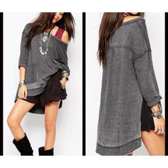 FREE PEOPLE FAB TUNIC STEAL ME FINAL DROP ONLY ROSE CORAL Left! Distressed Oversized Tunic Sweatshirt. Raw Edges, 2 Front Pockets, asymmetrical design with side slits with long sleeves. Available in XS and S. Gorgeous. Other colors SOLD OUT. Due to the design an XS can easily wear an S and a S can wear a M. No TRADES. Price is 100% FIRM Free People Tops Tunics