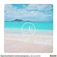 Aqua beach photo custom monogram stone coaster