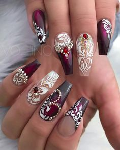 Acrylic Coffin Nails Designs For spring;Newest Acrylic Coffin Nails Designs;Coffin nails as popular as ever. Sexy Nails, Glam Nails, Fancy Nails, Bling Nails, Beauty Nails, Cute Nails, Pretty Nails, Cute Acrylic Nails, Acrylic Nail Designs