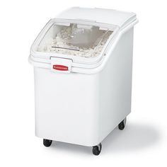 RUBBERMAID ProSave Mobile Bulk Storage Bins with Scoops - White by ProSave. $348.00. Seamless construction features rounded corners that are easy to clean and will remain free of bacteria.Exceptionally strong RUBBERMAID Bulk Storage Bins are made of structural foam with a non-corrosive white polypropylene surface. Lid includes a practical hook that holds scoop out of bin to aid in food code compliance and prevent cross contamination. Both clear lid and bin are sloped in t...
