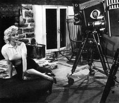 Marilyn at the home of Milton Greene in Weston, Connecticut for her Person To Person interview, April 8, 1955.