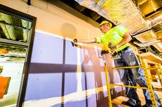 A drywall contractor muds the seams of new drywall on the 2nd floor of the Arts & Sciences Building as it undergoes renovation. Check out our Build Forward Tumblr page http://buildforward.tumblr.com/