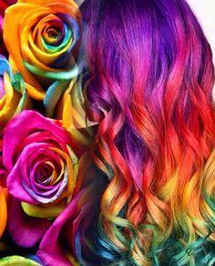 Say it with roses! Love this Valentine's Day inspiration by Ella Parrie hotonbeauty.com Mermaid hair Rainbow hair Colorful hair Vivid hair