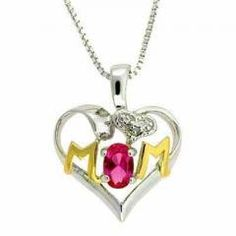Sterling Silver Two-Tone Created Pink Sapphire & Diamond Accent MOM Heart Pendant - MAZDeal