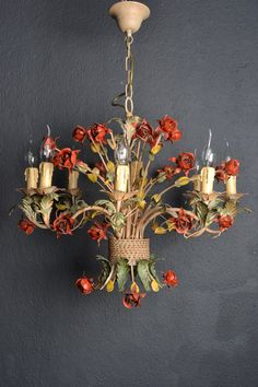 Vintage italian painted tole chandelier with little flowers 1930 large italian tole chandelier with roses 8 light bulbs mozeypictures Image collections