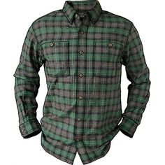 Men's Trim Fit Free Swingin' Flannel Shirt. Size XL, Hunter Green Plaid Color. $44.50