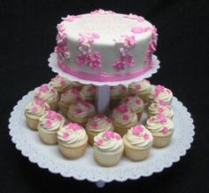 cake and cupcake birthday cake combo - Google Search