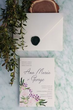 Peony watercolor wedding invitation / PAPIRA invitatii de nunta personalizate