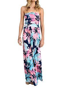 93453ef6dc42 Liebeye Women Wrap Chest Casual Floral Dress Empire Waist Strapless Sleeveless  Maxi Dress Long Skirt for Party Summer Beach Bule S