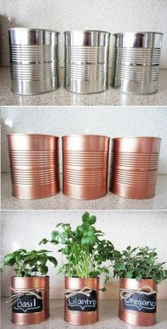 Ecco come creare un piccolo giardino con erbe aromatiche in casa, lo spray color rame è perfetto per la decorazione