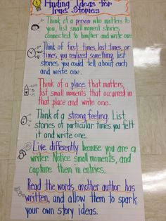 Anchor chart for personal narrative writing