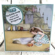 Created by Joanne Garratt for Crafter's Companion using Jayne Nestorenko Summer Adorables Collection - By The Sea Stamp & Die Set with Scenes Paper Pad. Birthday Messages, Birthday Cards, Crafters Companion Cards, Scrapbook Templates, Clear Silicone, Vintage Stamps, Anna Griffin, Lawn Fawn, Paper Cards