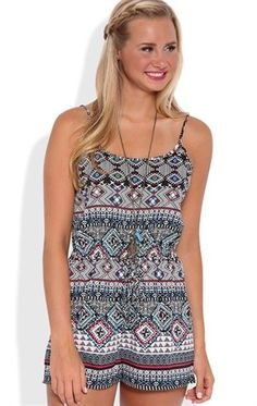 Deb Shops Tribal Stripe Print Romper with Elastic Tie Waist $13.00