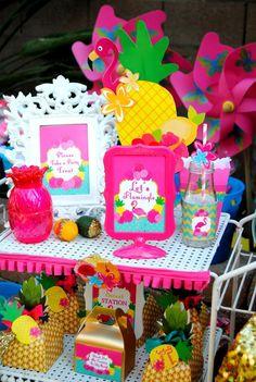 FLAMINGO Party- Flamingo Birthday - Luau Party- Pineapple THANK YOU TAGS- FLAMINGOS