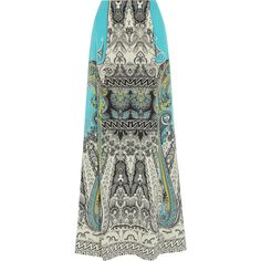 Etro Printed silk crepe de chine maxi skirt ($1,650) ❤ liked on Polyvore featuring skirts, turquoise, black maxi skirt, black skirt, high waisted maxi skirt, print maxi skirt i long black skirt