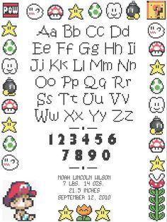 Mario Baby Birth Record Cross Stitch Pattern by HappyCupcakePlush, $5.00