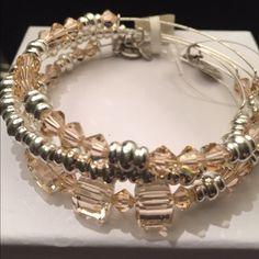 Alex and Ani Swarovski Set of 3 silver/clear/metal Swarovski Crystal beaded- lovely set....Round--Square--Bicone Swarovski Crystal truly gorgeous Alex & Ani Jewelry Bracelets
