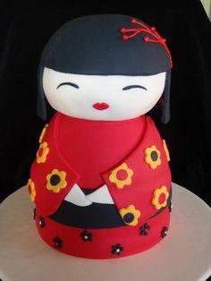 Fantastic cake idea for my little girl, who loves Japanese dolls.