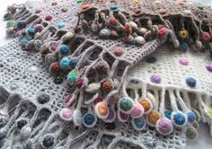 Crochet Scarf Design Sophie Digard scarf details - Amazing and absolutely stunning work of Sophia Digard for today's Visual Diary! Her creations transform crochet to art, in accessories terms! Poncho Crochet, Freeform Crochet, Crochet Scarves, Irish Crochet, Crochet Yarn, Chunky Knitting Patterns, Crochet Stitches Patterns, Textiles, Crochet Accessories