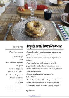 Carton Recette n°79 Bagels, Bacon, Oatmeal, Cooking, Breakfast, Food, Cooking Food, Eat, Recipes