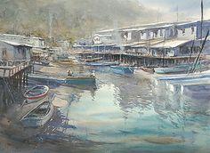 Tai-O, Hong Kong IV by Keiko Tanabe Watercolor ~ 21 1/2 x 29 1/2 inches (55x75 cm)