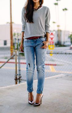 Slouchy denim + heels.